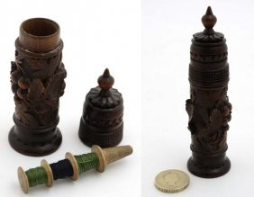 Black Forest Needlework. : A 19thc Carved Case Opening