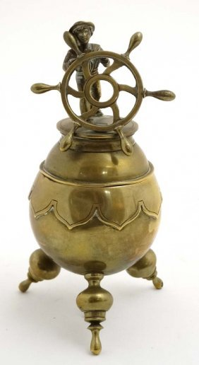 A 19thc Brass Desk Top Inkwell, The Lid Hinging Open
