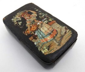 A 18thc Papier-mache Box With Image To Top Of A