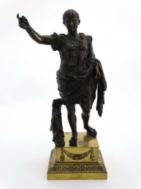 A Patinated Cast Bronze Figure Of Caesar / Caeser On A