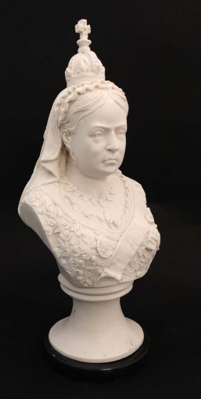 A 21stc Composite Marble Bust Of Queen Victoria On A