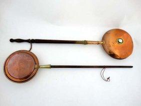 A 19thc Hot Water Copper Bed Warmer 11 1/4'' Diameter