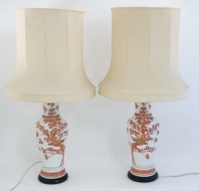 A Pair Of Chinese Table Lamps With Silk Shades. Approx