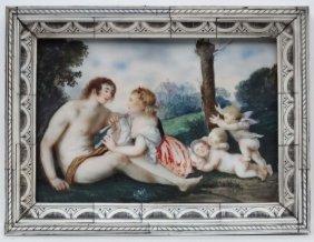 J ? Brandt Xix ?, Watercolour On Ivory, An Allegorical