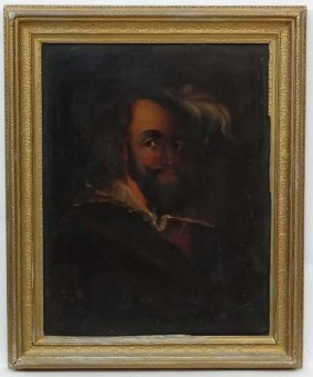 Xix English School, Oil On Canvas, Portrait Of A