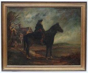 C. 1900 English School, Oil On Canvas, The Highwayman
