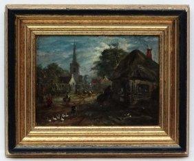 Xix Flemish School, Oil On Panel, A Village Scene With
