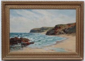 Sidney Watts Xx Oil On Canvas A Coastal Shore With A