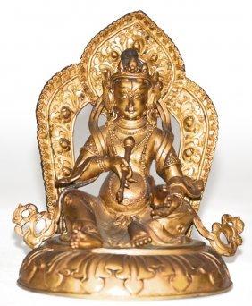 Nepalese Gilt Bronze Seated Buddha