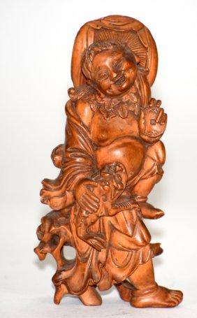 Chinese Boxwood Carving Of Louhai