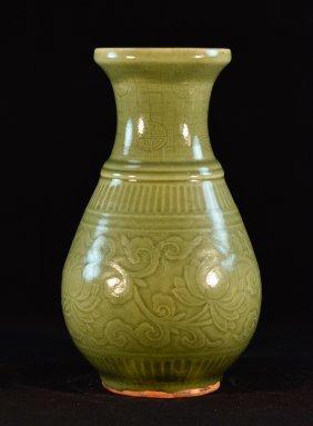 Chinese Celadon Porcelain Vase With Molded Design