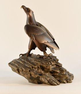 Japanese Bronze Hawk On Rock