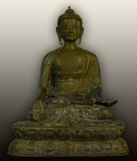 Large Seated Nepal Bronze Buddha