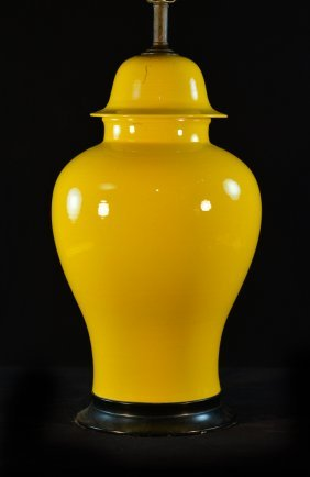 Chinese Yellow Porcelain Covered Jar