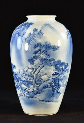 Japanese Porcelain Blue White Vase By Arita Kiln
