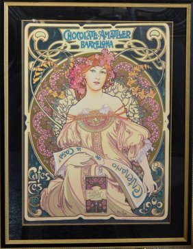 Vintage Poster Chocolate Amatller Barcelona By Mucha