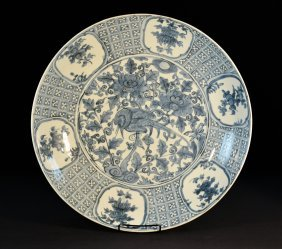 Chinese Ming Blue White Porcelain Charger