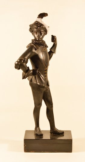 Antique Black Americana Lacquered Wood Figurine