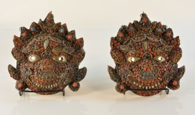 Pair Of Nepalese Brass Guardian Mask With Jewels