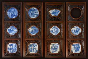 Set Of Four Chinese Porcelain Tiles Blue White