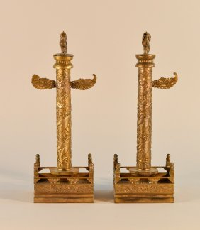 Pair Chinese Gilt Bronze Model Of Monument