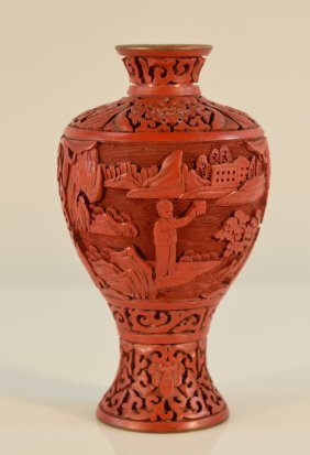 Chinese Carved Cinnebar Vase With Culture Revolution