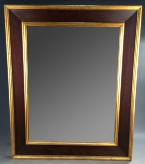 19th C. American Empire Mahogany & Gilt Mirror.