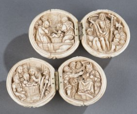 Pair Of Carved Continental Ivory Religious Balls.