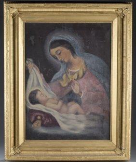 Madonna & Child Oil On Canvas.