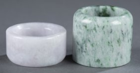 Pair Of Chinese Jade Archer Rings.