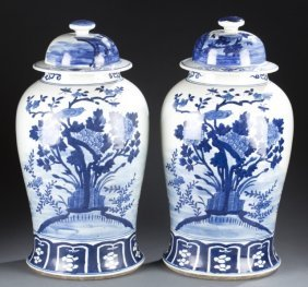 Large Chinese Blue & White Covered Jars C.1900.