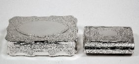 A Victorian Silver Rectangular Snuff Box Of Shaped