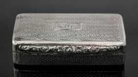 A Victorian Silver Rectangular Snuff Box With Geome