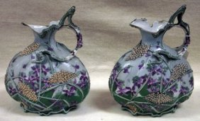 Pair Of Austrian Porcelain Ewers With Moulded Handles,