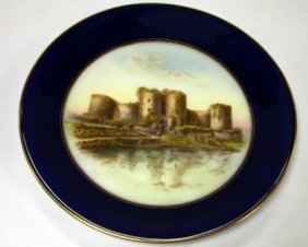Royal Worcester Plate Decorated With A View Of Harlech