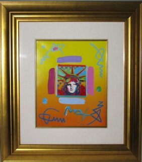 Peter Max Liberty Head Ii Mixed Media Painting