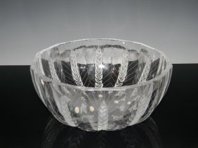 Lalique French Crystal Ceres Wheat Bowl
