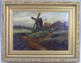 Antique Oil On Canvas Dutch Windmill Painting