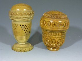 Carved Coquilla Nut Nutmeg Graters / Pomanders