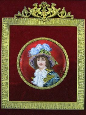 Signed French Enamel Portrait Plaque By Lamy