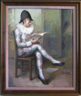 Ruggero Serrato Oil On Canvas Italian Harlequin