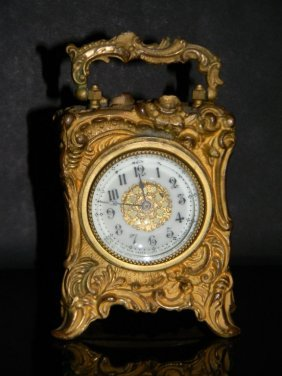 New Haven Clock Rococo Revival Gilded Metal Case