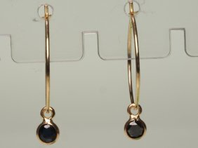 14k Gold And Diamond Stud Lever Back Earrings