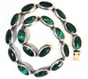 Taxco Signed Sterling & Malachite Necklace