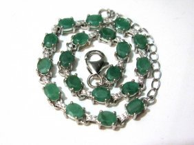 Sterling Silver And Emerald Bracelet