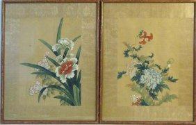 Pair Of Vintage Chinese Floral Paintings On Silk