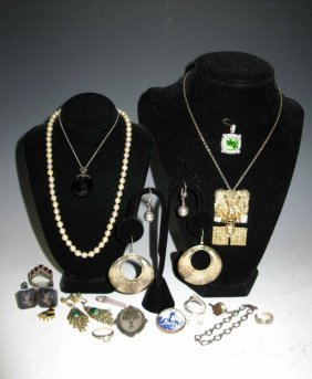 Jewelry: Sterling, 14k Gold, Pearls & Antique
