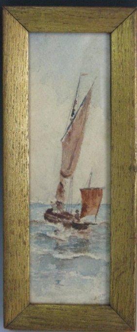 J. H. Nash English Watercolor Sailboat At Sea