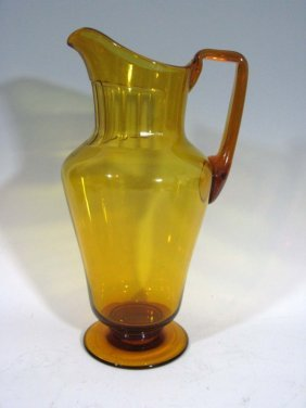Vintage Amber Hand Blown Cut Glass Pitcher