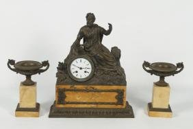 Antique French Bronze & Marble Clock and Garniture